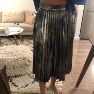 Silver Zara pleated midi skirt